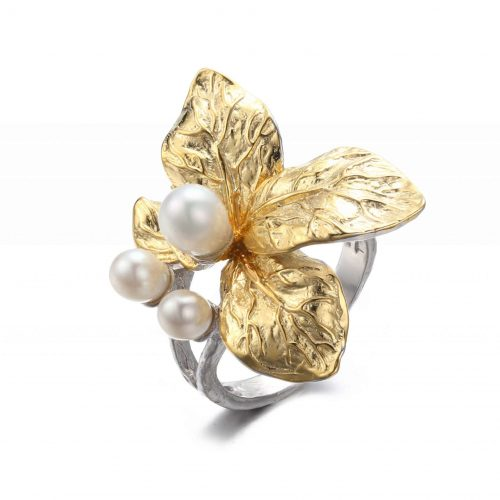 A.Brass - White flower adjustable ring - Pearl