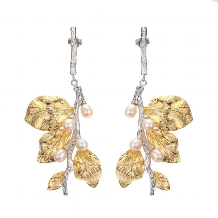 A.Brask - White flower hanging earrings - Earring