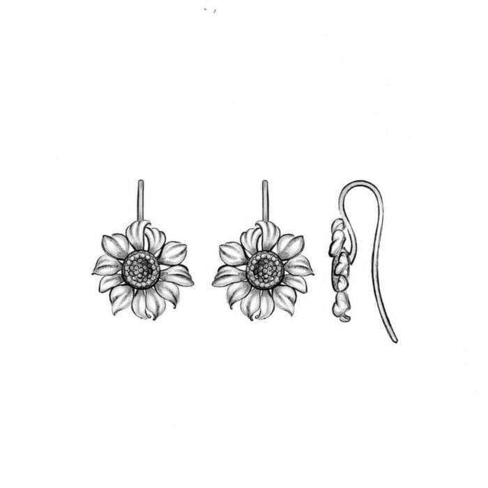 Sunflower earrings - A.Brask