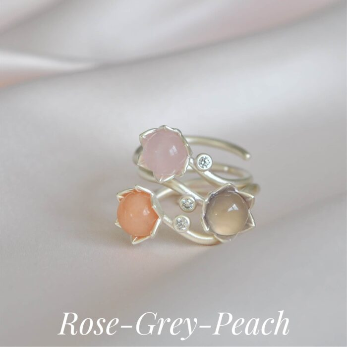 A.Brash - Peasant rose adjustable rings - stackable rings