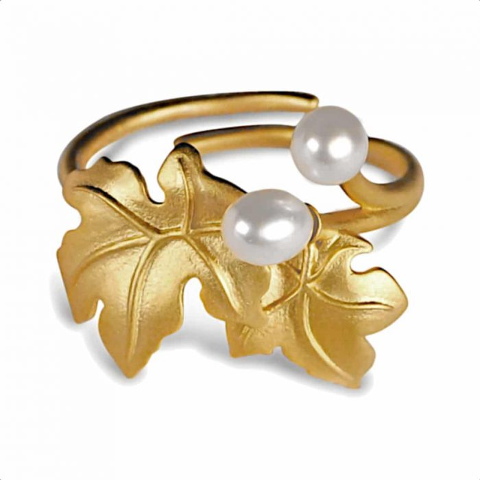 A.Brass - Flowering maple adjustable ring - gold plated ring
