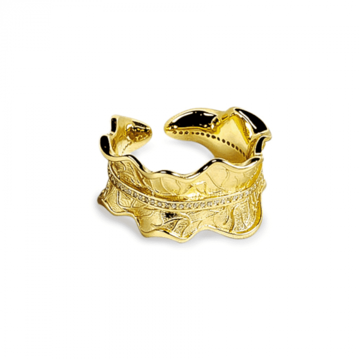 A.Brask - Peasant rose leaf adjustable ring with stone - Ring