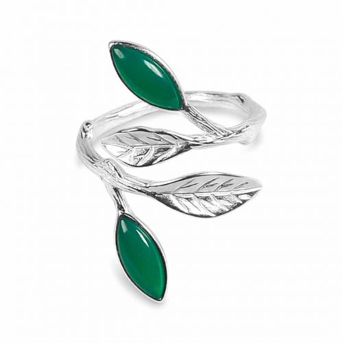A.Brask - Flowering spring adjustable ring - silver - green - emerald