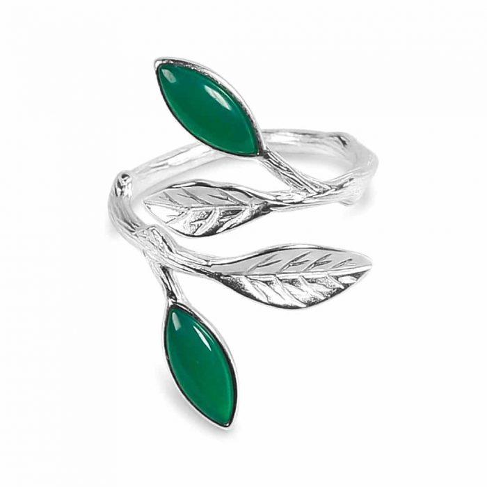 A.Brask - Flowering spring adjustable ring - silver - green - emerald