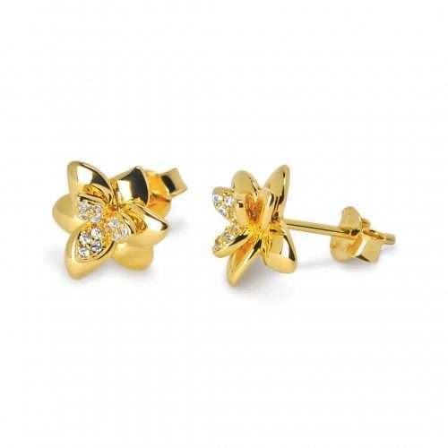 A.Brask - Orchid ear studs with zircon - Earring