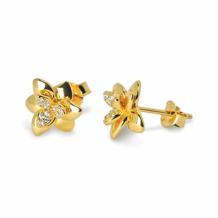 A.Brask - Orchid ear studs with zircon - Earring