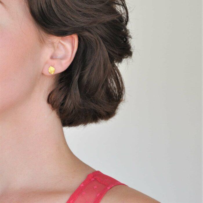 A.Brask - strawberry leaf ear studs - Ear studs