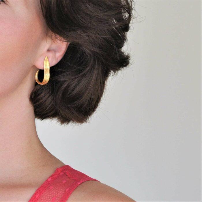 A.Brask - Tulipan leaf gilded earring - Earring