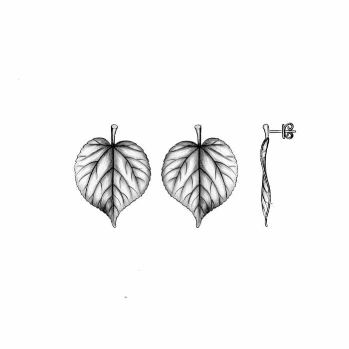 Linden wood leaf earrings - A.Brask