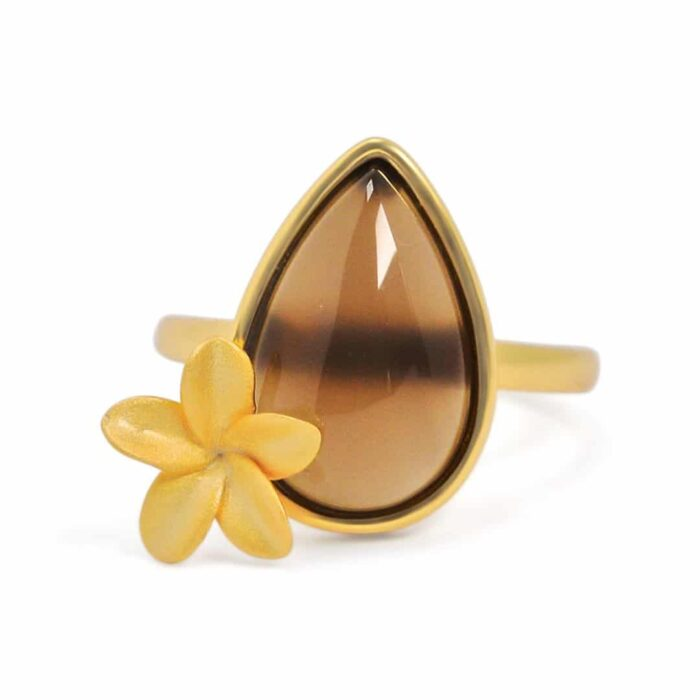 Plumeria adjustable ring with gray Agate - A. Brash